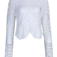 White Long Sleeve Cut Out Lace Blouse
