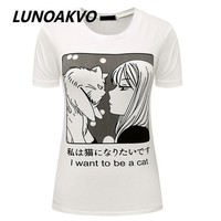 ICIKF4S I Want To Be A Cat Manga T-Shirt Pastel Goth Anime Grunge Goth Tumblr Clothing Kawaii Hipster Punk Indie Homies Cute