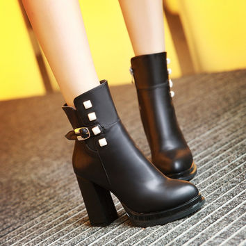 Studded Ankle Boots High Heels Women Shoes Fall Winter 2106