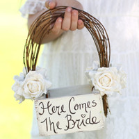 Here Comes The Bride Flower Girl Basket Rustic Country Wedding (Item Number 140201) NEW ITEM | Bragging Bags
