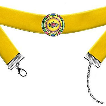 Solomons 5th Jupiter Seal for Manifestation & Psychic Visions Mustard Yellow Velvet Choker