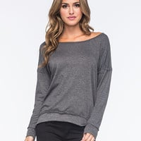 Full Tilt Essential Cozy Womens Sweatshirt Charcoal  In Sizes