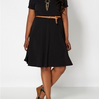 Plus Classic Belted Skater Dress