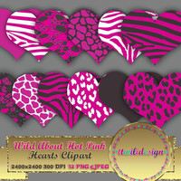 "80% OFF SaleWILD About Hot Pink Hearts 8"" clipart commercial use, scrapbooking, vector graphics, printable, Instant Download, Zebra Leopard"