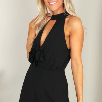 High Neck Knot Romper Black