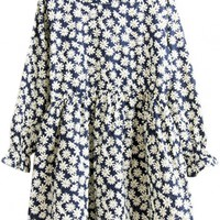 Daisy Floral Long Sleeves Mini Dress - OASAP.com