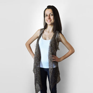 FREE SHIPPING Pure linen vest Knitted brown long vest Asymmetrical vest Brown and beige Linen vest Spring and summer overcoat Gift brooch