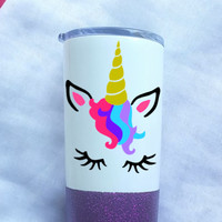 Unicorn Glitter Coffee Tumbler