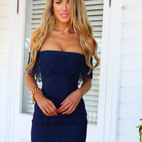 THE ZOE DRESS(NVY) - Navy off the shoulder lace dress