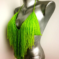 READY TO SHIP Summer Sexy Crochet Bra Folk Neon GreenCrop Top Halter Hippie Bikini Crochet Festival Top Party Corset Yoga Gypsy Fringes