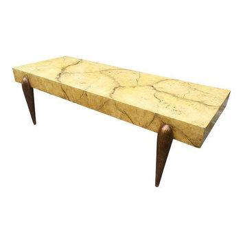Vintage Hollywood Regency Faux Bamboo Coffee Table