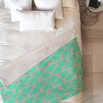 Allyson Johnson Mint Diamonds Fleece Throw Blanket
