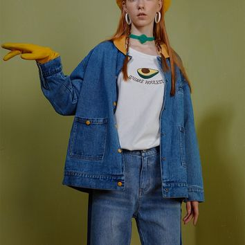 Yellow Collar Denim Jacket