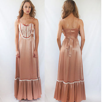 Vintage Silk Rose Hippie Lacy Maxi Dress XS S | Gunne Sax Style Boho Prairie Dress Lace Bodice Full Swing Flower Child | Long Bohemian Dress