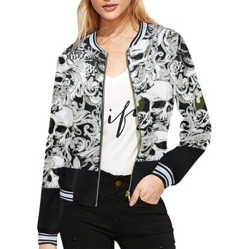 Paisley Skulls Women's All Over Print Horizontal Stripes Jacket