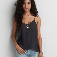 AEO Button Front Keyhole Cami , Black