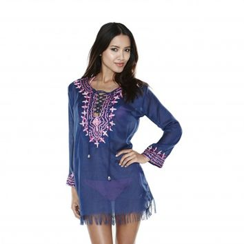 SILK EMBROIDERED NAVY TUNIC