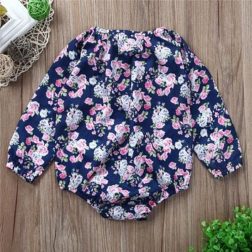 Newborn Baby Girls Flower Romper Baby Girl Long Sleeve Floral Rompers New Arrival Fashion Jumpsuit Outfits Sunsuit Clothes
