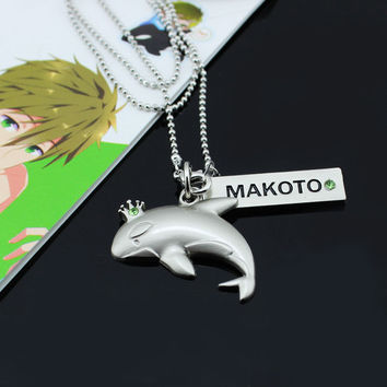 Anime Free! Iwatobi Swim Club Cosplay MAKOTO whale crown necklace pendant PO