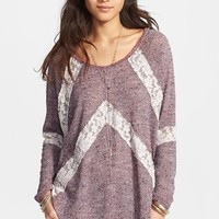 Free People 'Flying V' Lace Inset Pullover
