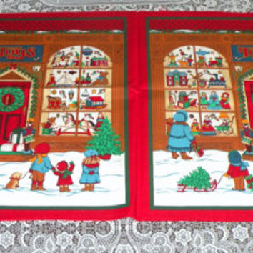 2 Cotton Quilting Christmas Toy Store Panels Connected Quilt Shop Quality Pillow//Wall Hanging Fabric