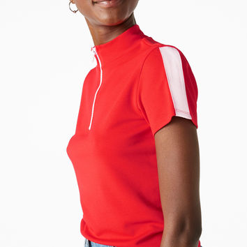 High neck zip tee - Red - Tops - Monki GB