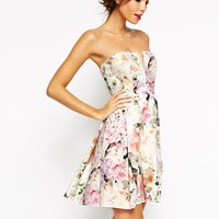 ASOS WEDDING Notch Bandeau Floral Mini Dress