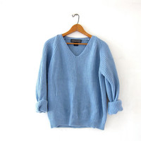 vintage cashmere sweater. coziest cashmere sweater. chunky blue ribbed sweater. modern vneck sweater.