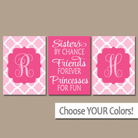 SISTERS Wall Art, Quote Artwork, Shared Girl Bedroom Pictures, Monogram Decor, By Chance Friends Forever Princess, CANVAS or Print, Set of 3
