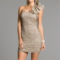 Cheap Tan Crinkled Short Prom Dresses