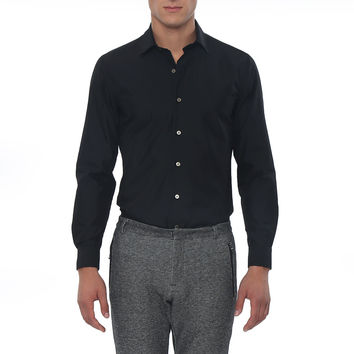 Dark Solid Long Sleeve Slim Fit Lowell Casual Shirt