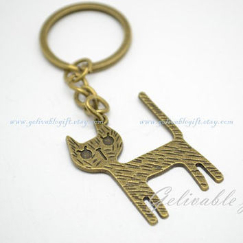 Cat keychain, inspired by Alice in wonderland cheshire cat key ring KAW01