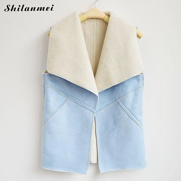 Spring Women Suede Leather Faux Fur Jacket Vest Herringbone Fall Sleeveless vests womens Lady vest female winter waistcoat 2017
