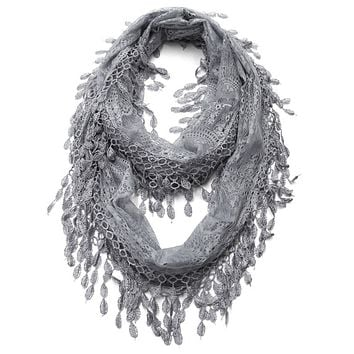 Gray Lace Infinity Scarf with Eyelet Trim