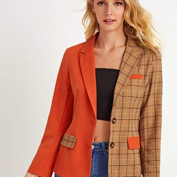 Plaid Lapel Collar Spliced Blazer