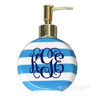 Monogrammed Striped Soap Dispenser | Marleylilly