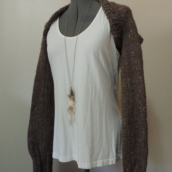 Hand Knit Long Sleeve Shrug in Tweed Brown