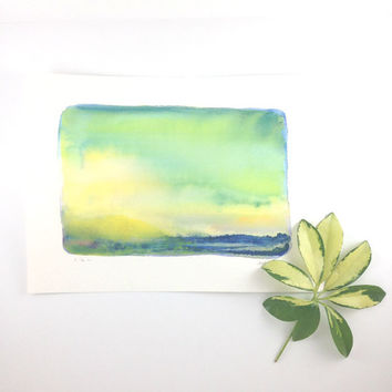 Seascape Watercolor - Abstract Landscape - Original Painting - Ireland - Yellow - Green - Emerald
