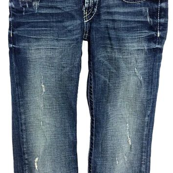 BKE Buckle Madison Capri Cotton Stretch Distressed Jeans Women 25 Actual 25 x 22.5 - Preowned
