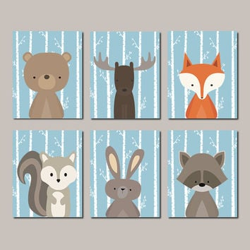 WOODLAND Nursery, Woodland Animals WALL ART, Woodland Nursery Decor, Fox Bear Squirrel Woodland Baby Shower Blue Set Of 6 Prints Of Canvas