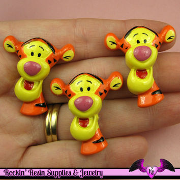 4 pc Cartoon Tiger   Resin Flatback Decoden Kawaii Cabochons 28x32mm