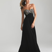 Black Pleated Chiffon Beaded Strapless Prom Dress - Unique Vintage - Cocktail, Pinup, Holiday & Prom Dresses.