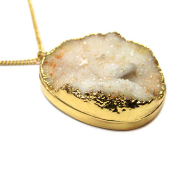 White Druzy Gemstone Gold Dipped Oval Pendant 18inches thin chain boho chic Necklace druse bohemian jewelry christmas gift druzzy necklace