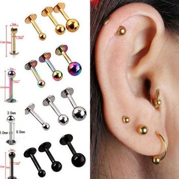 ICIKHY9 5Pcs/lot 16G 18G Tragus Helix Bar 3-4mm Ball Stainless Steel Labret Lip Bar Rings Stud Cartilage Ear Piercing Body Jewelry