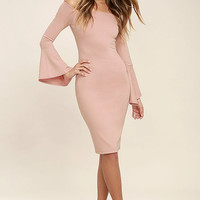 All She Wants Blush Pink Off-the-Shoulder Midi Dress