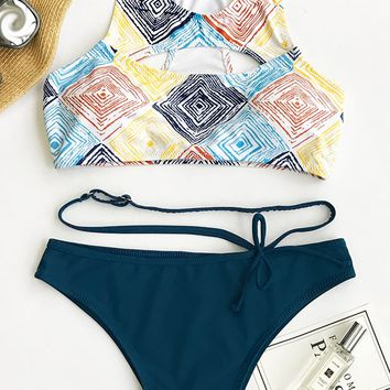 Cupshe Magic Cube Tank Bikini Set