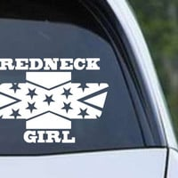 Redneck Chevy Girl Rebel Confederate Flag Vinyl Die Cut Decal Sticker