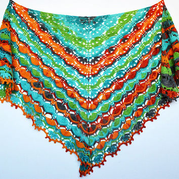 Rainbow  Hand crocheted shawl lovely handmade lace chic elegant scarf stole