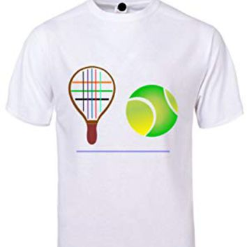 ALNBRANDS® New Custom Designs Racket Ball Front Logo Tee (Small, White)