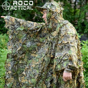 ROCOTACTICAL Ultralight Breathable Sniper Ghillie Poncho Lightweight Hunting Ghillie Suit Camouflage Poncho Voice Silent